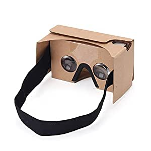 Virtoba Google Cardboard V2 3D Virtual Reality Headset Big Lens 3D VR Cardboard Glasses with Lengthened Head Strap Nose Pad ,Compatible with 3.5 - 6.0 inch Android&IOS Smartphones