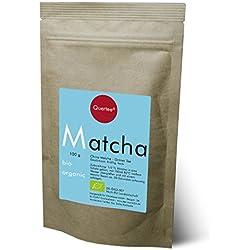 Bio Matcha Tee Pulver vegan - Grüner Tee Pulver zum Trinken, für Matcha-Latte, Smoothies und Mixgetränke, zum Kochen und Backen - 100 g - von Quertee®