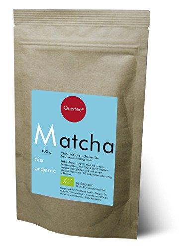 Bio Matcha Tee Pulver vegan - Grüntee Pulver zum Trinken, für Matcha-Latte, Smoothies und Mixgetränke, zum Kochen und Backen - 100 g - von Quertee®