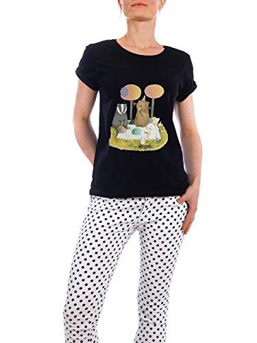 """Design T-Shirt Frauen Earth Positive """"Picknick"""" - stylisches Shirt Tiere Natur Kindermotive Essen & Trinken von Judith Loske Schwarz"""