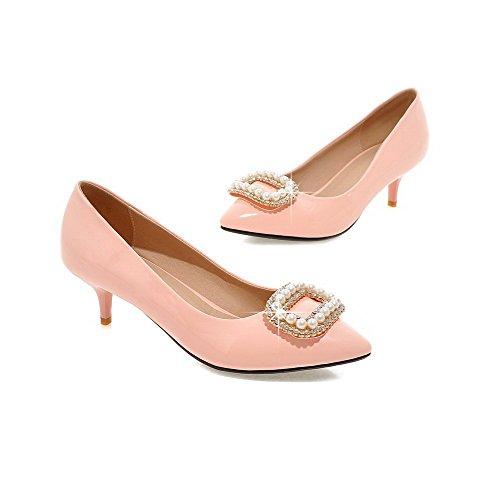 AgooLar Damen Spitz Zehe Mittler Absatz Lackleder Eingelegt Ziehen Auf Pumps Schuhe Pink