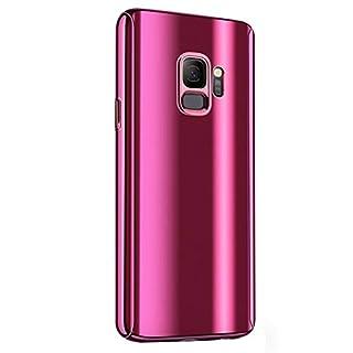 Fantasyqi Kompatible mit Galaxy J7 2017 / J730 2017 / J730F / J7 Pro Hülle Mirror Ultra Dünner Überzug PC Harte Handyhülle 360 Grad Ganzkörper Schützend Anti-Kratze Mode Glänzend Spiegeln(Pink)