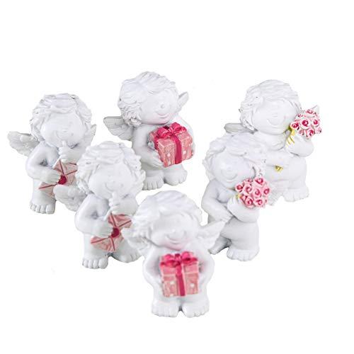 Logbuch-Verlag 6 kleine Mini Engel 5 cm weiß rosa Gastgeschenk Give-Away Tischdeko Weihnachten Kindergeburtstag Taufe Schutzengel Figur Herz Kommunion -