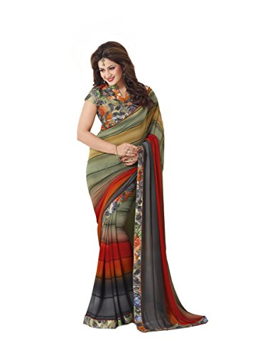 Palav Fashion Women's with Blouse Piece Georgette Saree (palav_Multicolor_Free Size)