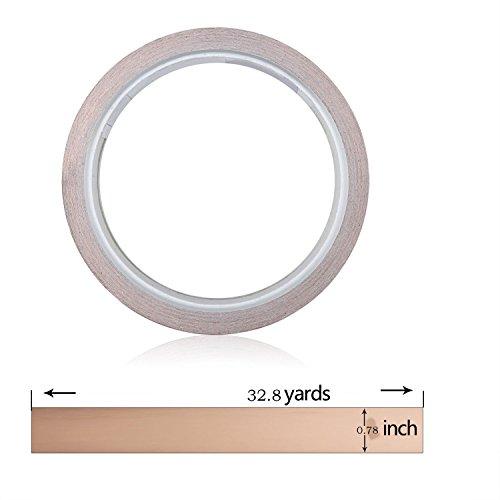 Tily Kupfer Folie Klebeband mit ableitfähigem selbstklebend 2cm X 32.8yards–Für gebeizt Glas, Kunst, Löten, Elektro-Reparaturen, Erdung, EMI Abschirmung [1Pack] (Leitenden Klebeband)