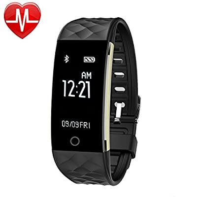 Waterproof Heart Rate Monitor, Bluetooth Smart Wristband Bracelet Activity Fitness Tracker with Sleep Monitoring Calories Track Sync Reminder Steps Counter Pedometer for Android and iphone Smartphones by GanRiver Direct