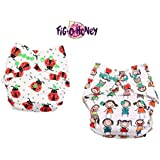 Fig O Honey Reusable New Born Baby Cloth Diapers | Multi-Color Baby Cloth Nappy With Free Absorbent Inserts | Washable Elastic Cloth Diapers | Reusable Elastic Printed Cloth Diapers | ( All Smiles & Ladybug Print Combo )