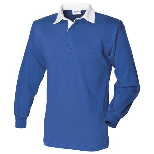 Front Row Langarmshirt Klassisch Rugby Shirt Königliche/ Weiß 2XL