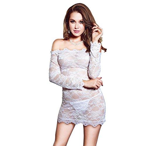 DuuoZy Frauen Sexy durchschauen weg von Schulter Spitze Nachtwäsche Dessous Kleid Langarm Babydoll mit G-String , white , m-l