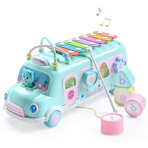 Kinder Nachzieh-Schulbus mit Form Sortierer Musik Xylophon Perlenlabyrinth Mehrzweck NachziehSpielzeug für Baby Kleinkinder