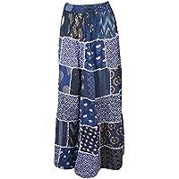 Mogul Interior Women's Maxi Skirt Blue Printed Patchwork Flare Gujarati Maxi Skirt SM