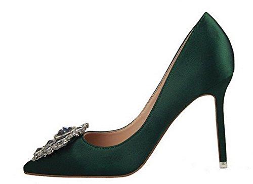 YCMDM Femmes Chaussures Nouveau Pointed Talons hauts Fine Avec Simple Chaussures Chaud Basse Chaussures De Mariage Chaussures De Mariage Green