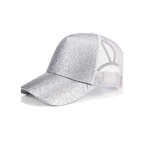 Margot-Charismatic-Shop Sonnen-Helm Glitzer Ponytail Baseball Cap Frauen Snapback Dad Hat Mesh Trucker Caps chaotische Dutt Sommer Hut Frauen verstellbar Hip Hop Hüte Glitzer Silber ohne Logo