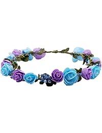 Sanjog Flower Purple Blue Gracious Tiara/Crown Head Wrap For Wedding Party Beach For Women Girls