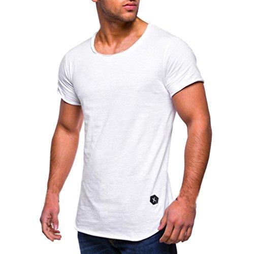 GreatestPAK T-Shirt Rundhalsausschnitt Herren Kurzarm-Shirts Muscle Cotton Bluse Casual Tops,Weiß,L