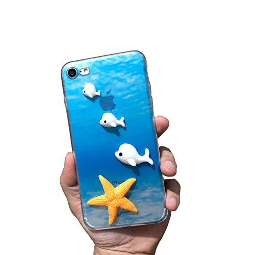 Sunroyal Coque iPhone 6 Etui en Gel TPU Transparent Housse Protection Antichoc Extrêmement Mince Souple et Flexible Original Motif 3D Blanc Dauphins Jaune Étoile de mer Case iPhone 6S Cover Coque Couv Dauphins