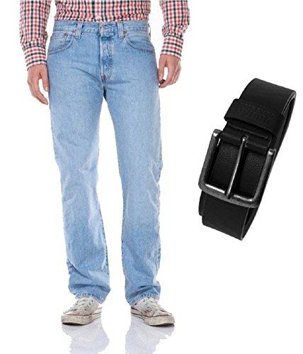 Levi's® 501® Jeans - Regular Straight Fit - Stonewash - Onewash - Marlon Wash - Black - Light Broken In mit Urban Classics Gürtel light broken in (00501-0113)