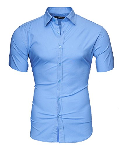 KAYHAN Homme Chemise Slim Fit Repassage facile, Manches courte Modell - Chemise courte K1 Sky Blue