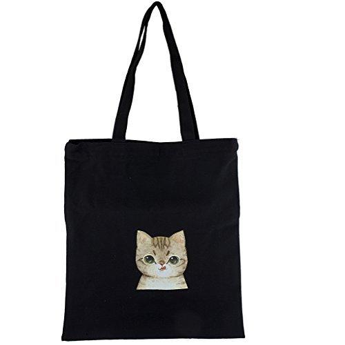 LUX Zubehör Schwarz Schultertasche Canvas Tan Silly Kitty Cat Print (Hippie-windel-taschen)