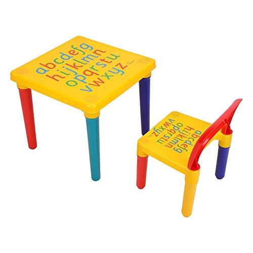 Kindersitzgruppe, Abnehmbarer Kunststoff-Alphabet-Tisch und Stuhl-Set für Kinder über 3 Jahre, maximale Belastbarkeit 50kg