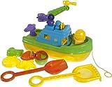 Bieco 06060275 - Sandspielzeug Set mit Boot und Zubehör, 8 teilig