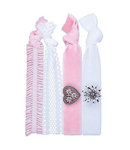 SIX Haarschmuck, 2 in 1 Haargummi und Armband, weiß rosa Samt Bänder, Oktoberfest Schmuck, mit Herz und Edelweiß - Kostüm Armbänder Schmuck