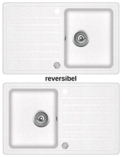 Preisvergleich Produktbild Granitspüle Küchenspüle in versch. Farben Einbauspüle Granit inkl. Drehexcenter, Ab- und Überlaufgarnitur reversibel ab 45/50er Spülenunterschrank (weiß)