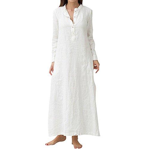 TWIFER Damen Kaftan Baumwolle Langarm Plain Casaul Übergroßes Maxi Langes Hemdkleid