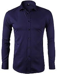Camicia Elastica di Bambù Fibra per Uomo, Slim Fit, Manica Lunga Casual/Formale, 10 Colori