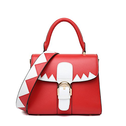 Fabelhaft Neue Kuh Leder Hit Farbe Tragbare Schultertasche Red