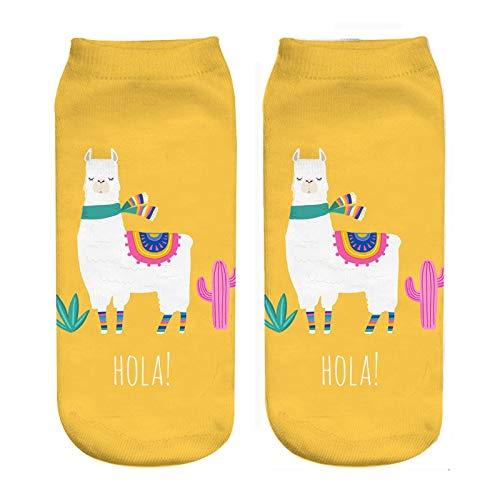 NANAYOUPIN Mode 5 Paar Neue Cartoon Niedlichen Kaktus Alpaka 3D Digitaldruck Socken Frauen Und Mädchen Socken 20 cm Baumwolle Komfortable Lässige SockenGELB