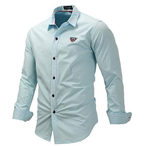 Männer Langarm Solid Color Stickerei Shirts Männer Slim Fit Hemd Business Kleid Shirts 3XL Hellblau Europa Größe M