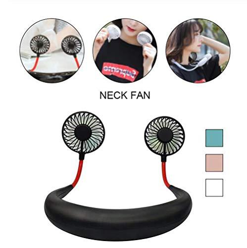 Ventilator - Hand frei USB wiederaufladbarer Mini-Lüfter - Kopfhörer Design Tragbar Persönlicher Fan Aromatherapie-Fan Mit Doppelwindkopf Für Sport, Büro und Outdoor,Black ()