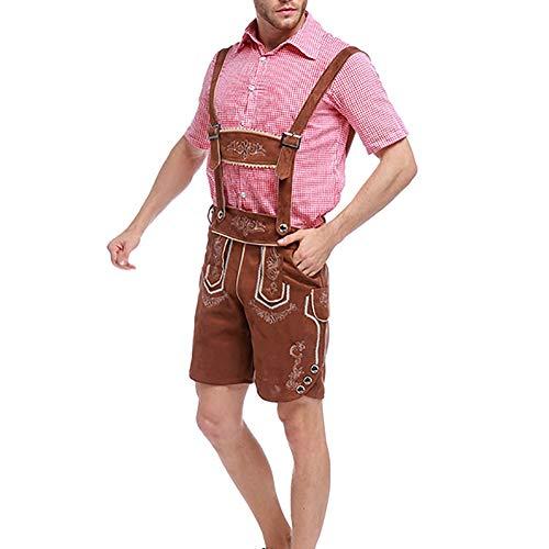 Haodou Oktoberfest Herren Weihnachten Kostüme Hosenträger Männer Halloween-Kostüm Deutschland München Bier Kleidung - Zwei Teilig: Hemd,Hosenträger Hosen (Khaki-M)