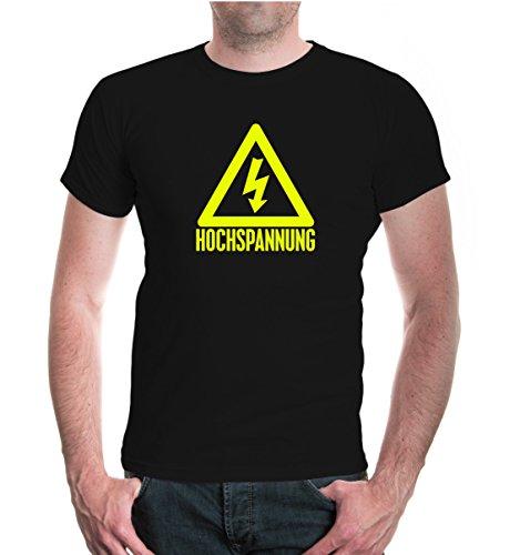 buXsbaum® Herren Unisex Kurzarm T-Shirt bedruckt Hochspannung   Elektriker Symbol Schild   M black-neonyellow Schwarz