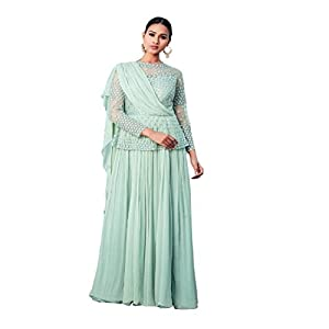 Pushp Paridhan Wedding Party Wear Hand work Indo Westren Pestal Green Paplan Style Long Gown