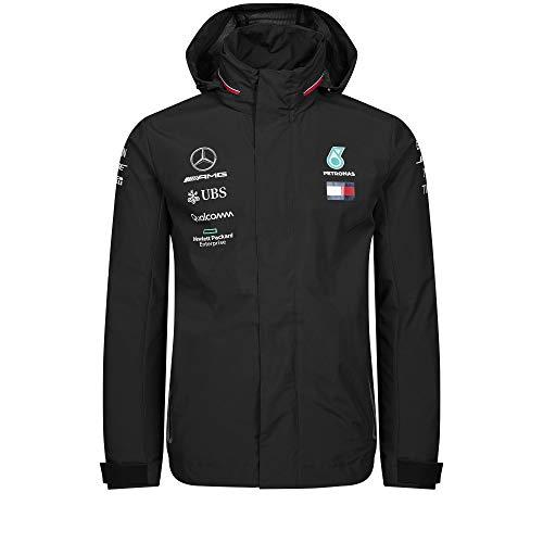 Official Formula 1 Merchandise | Männer | Offizielle Mercedes-AMG Petronas Motorsport 2019 F1TM | Team Regenjacke | Schwarz | Polyester | Größe: L