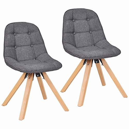 Duhome 2er Set Esszimmerstuhl Stoffbezug Grau Farbauswahl Retro Design Stuhl mit Rückenlehne Holzbeine 466