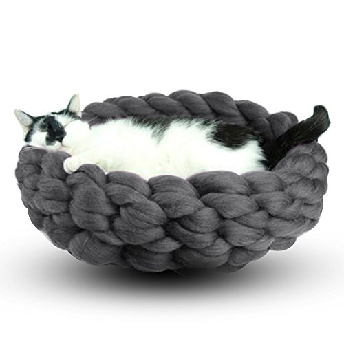 jannyshop lit panier pour chat sac de couchage en laine nid tricot la main pour chat chaton. Black Bedroom Furniture Sets. Home Design Ideas