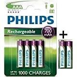 Philips Lot de 6 piles rechargeables AAA HR03 1,2 V 700 mAh