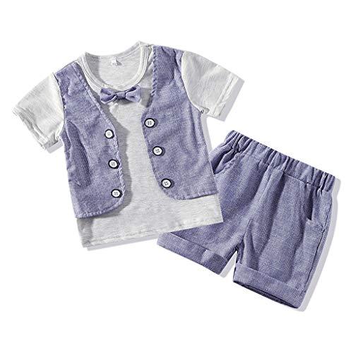 Komplette Twin-set (sunnymi  ® 0-4 Jahre Kinder Baby Jungen Gentleman Anzüge Kurzarm T Shirt + Gestreifte Shorts Outfit Set)