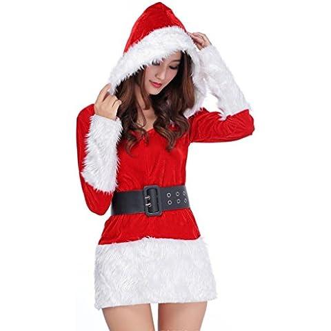Oyedens Vestido para mujer Señoras Santa traje de la fiesta de Navidad de las mujeres de fantasía dos piezas vestido Cosplay Suit