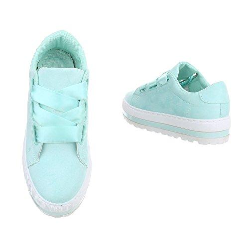 Sneakers Ital-design Basse Scarpe Da Donna Sneakers Basse Sneakers Lacci Scarpe Casual Turchese