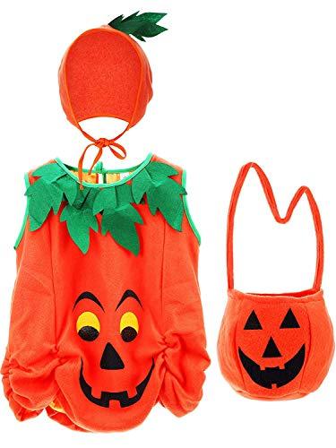 LuLyLu Baby Kürbis Kostüm Kürbis Kleidung Kinder Halloween Infant Kostüme mit Kürbis Hut und Kürbis Tasche by