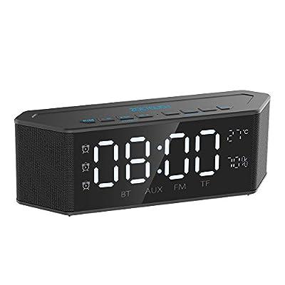 ZOETOUCH Enceinte Bluetooth Portable Bluetooth 4.2 Haut-Parleur Portable avec Radio FM/Réveil/Téléphone Mains Libres/Carte TF/Entrée AUX/Thermomètre/Hygromètre, 30 Heures de Jeu de ZOETOUCH