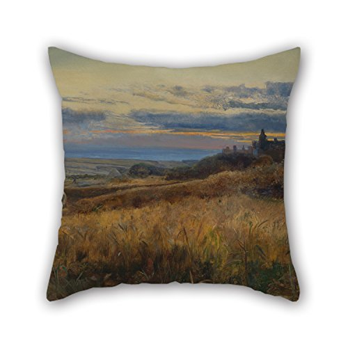 Beautifulseason Pillow Cases Of Oil Painting John William Inchbold - Cornfield At Sunset 16 X 16 Inches / 40 By 40 Cm,best Fit For Car,lounge,bf,home Office,dance Room,relatives Each Side