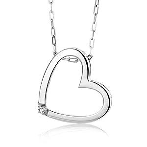 Miore Damen-Halskette mit Herz-Anhänger – Hübsche Kette aus 925 Sterling Silber mit 0,01 ct. Diamant – Halsschmuck 45cm lang, Silber