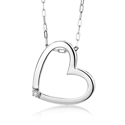 Miore Damen-Halskette mit Herz-Anhänger - Hübsche Kette aus 925 Sterling Silber mit 0,01 ct. Diamant - Halsschmuck 45cm lang, Silber
