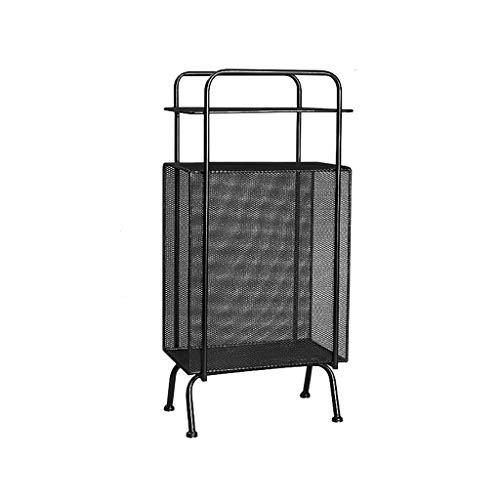 AI XIN SHOP Industrie dreischichtiges Eisen-Masche-Regal, stehendes Schmiedeeisen-Krankenbett-Lagerregal-Ecken-Bücherregal mit Griff und Stang, Rost-Verhinderung (Farbe : SCHWARZ) -