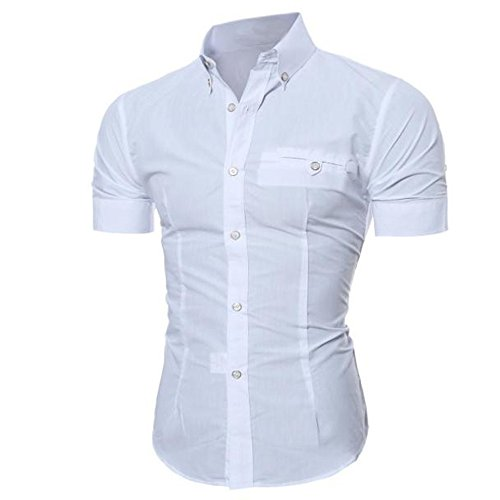 DAY.LIN Herren Hemd Männer Mode Luxus Business Stilvolle Slim Fit Kurzarm Freizeithemd (Weiß, 3XL=EUXXL) (Kurzarm-anzug Baumwolle)
